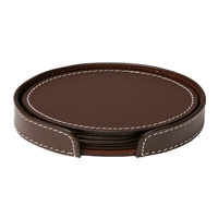COASTERS OVAL BROWN/WHITE STITCHING